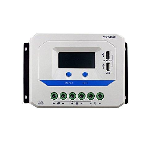 YAOSHI-controlador VS1024AU VS2024AU VS3024AU VS4524AU VS6048AU 12V 24V EPever PWM Solarladeregler mit LCD-Display 5V DC Ausgang USB LCD (Style : VS6024AU) (Bulk N Akku)
