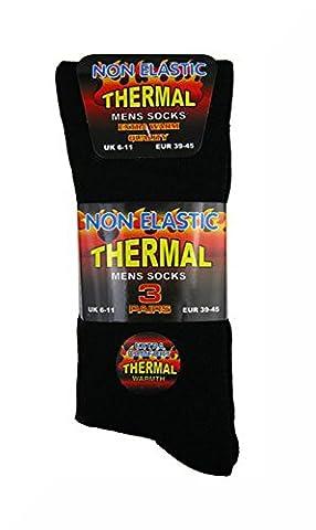 3 paires de chaussettes thermiques pour homme, Black Non Elastic 6 - 11