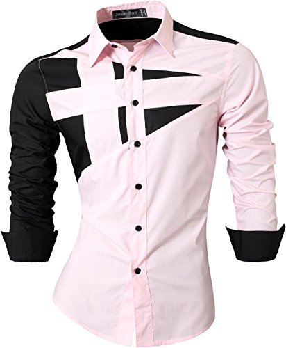 Jeansian Uomo Camicie Maniche Lunghe Moda Men Shirts Slim Fit Casual Long Sleeve Fashion 8397 Pink