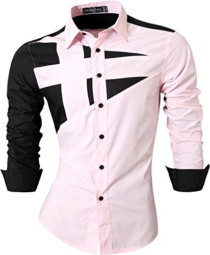 jeansian Herren Freizeit Hemden Shirt Tops Mode Langarmshirts Slim Fit 8397 Pink