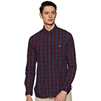 Amazon Brand - House & Shields Men's Checkered Regular Fit Full Sleeve Cotton Casual Shirt (HSSH-02_J#4016_Red_X-Large)