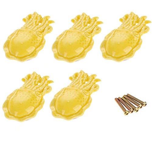 FBSHOP(TM) Gelb Mediterraner Stil- Keramik Schrankknauf, Türknauf, Keramik Möbelknauf für Schränke, Schubladen, Truhen, Schlafzimmer und Badezimmer Möbelknauf,Kreative Octopus Shape, 5 Stück