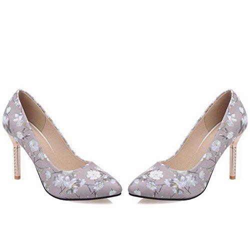 VogueZone009 Damen Hoher Absatz Gemischte Farbe Ziehen Auf Spitz Zehe Pumps Schuhe Grau