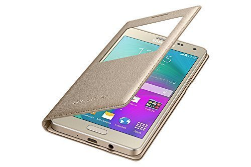 Sun Tiger (COMBO OFFER) windows Flip Case Cover For Samsung Galaxy On7 Pro Flip Cover - Gold. +[ free Premium Tempered Glass]