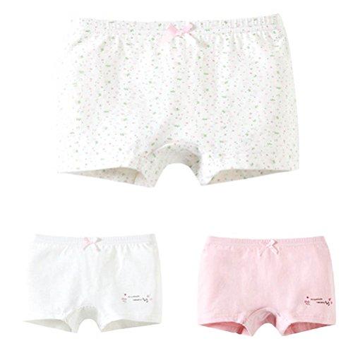 ARAUS Kinderunterwäsche Baumwolle Unterhosen Mädchen Reine Farbe Blumen 3er Packung für 0-12 Jahre