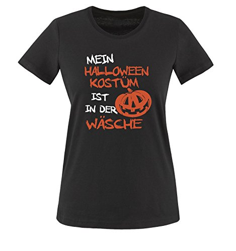 MEIN HALLOWEEN KOSTÜM IST IN DER WÄSCHE KÜRBIS - Damen T-Shirt Schwarz / Weiss-Orange Gr. (College Halloween Kostüme Jungs)