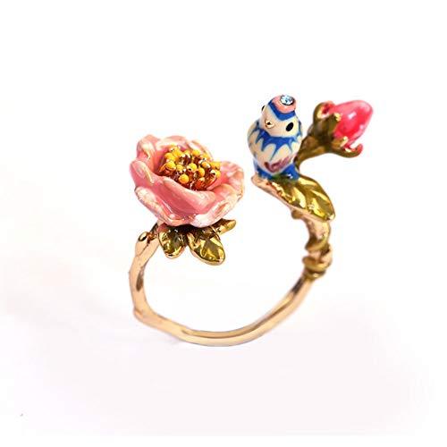 Frauen 3D Blumen und Vogel Ring offen Manschette Ring mit handgemalten Emaille einstellbar Vintage Gold plattiert Schmuck romantische Liebesgeschenk