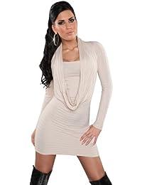koucla–Vestido de punto para & Jersey con Recorte en efecto cascada Talla Única (32–38) beige 36/38