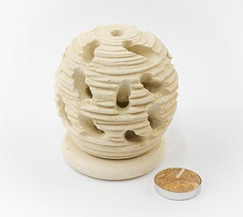 Maestro d'arte de iaco alfredo mangiafumo, porta candela spazzolato scultura in pietra salentina misure 11 x 9,5 cm