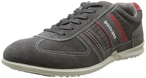 Dockers by Gerli 34SA00, Low-Top Sneaker uomo Grigio (Grau (asphalt/rot 237))