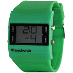 Fenchurch Green Rubber LCD Watch with Alarm and Stopwatch