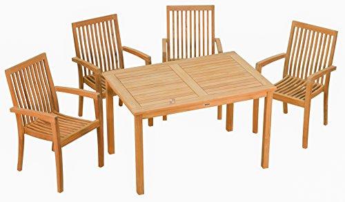 """Set ! Stilvoller Teak Tisch ' London ' und 4 stapelbare Sessel """" Seaside """"  Wetterfest  Nachhaltiges Plantagenholz  Klassisch geformte Balkon-Gruppe, Sitzgruppe aus Holz"""