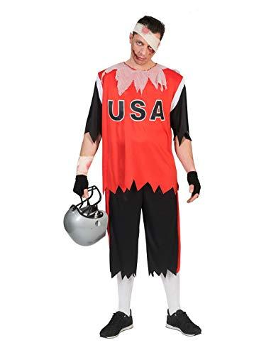 Luxuspiraten - Herren Männer Kostüm Zombie American Football Rugby Trikot, perfekt für Halloween Karneval und Fasching, L, Rot