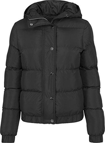 Urban Classics Damen Winterjacke Ladies Hooded Puffer Jacket, gefütterte Jacke für Herbst und Winter mit abnehmbarer Kapuze, Daunenjacke - Farbe black, Größe L