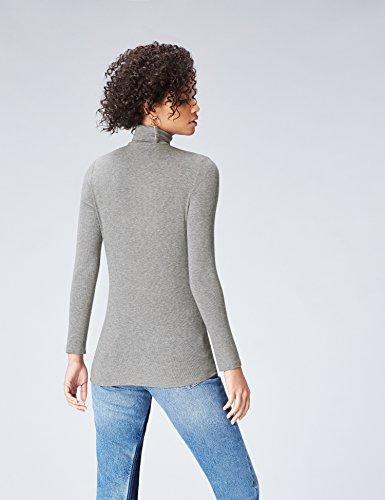 FIND Damen Langarmshirt mit Rollkragen Grau