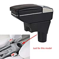 For Sunny Versa 2011-2016 Armrest Box Center Console Storage Organizer Cup Holder with Rotatable Leather Pad & Ashtray Black