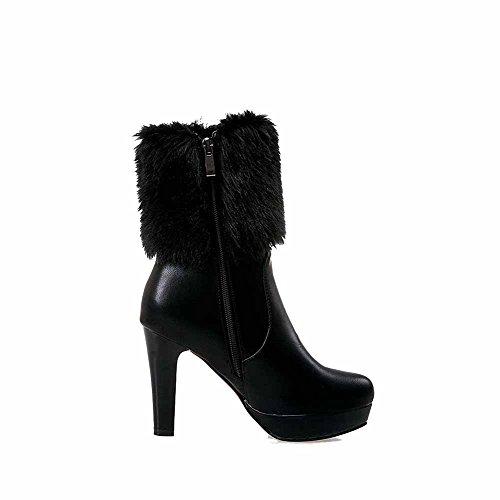 AllhqFashion Damen Niedrig-Spitze Ziehen auf Rund Zehe Stiefel mit Beschlagene Strass, Schwarz, 34