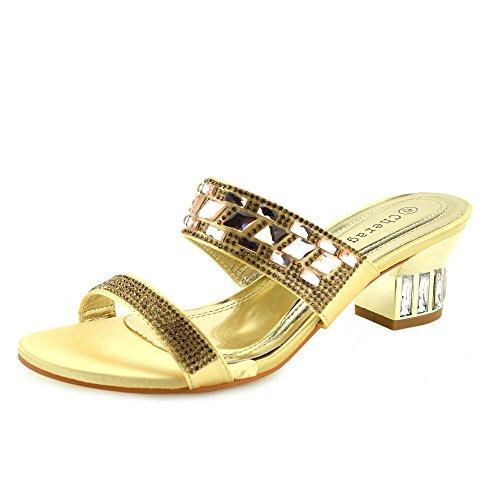 Kick Footwear - Donna partito abito da sposa ladies tacco basso sandali argento oro Oro