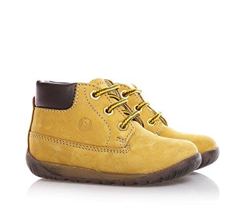 FALCOTTO - Ockerfarbener Schuh mit Schnürsenkeln, aus Wildleder, Jungen Beige