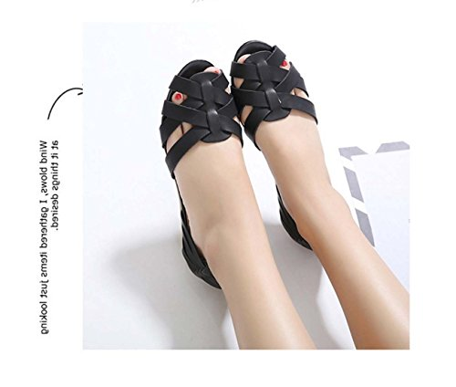 Femmes Peep Toe Chaussures Plates Chaussures Wedge Chaussures Décalées Creuses D'orsay Chaussures Talon Talon Chaussures Mama Safety Pregnant Black
