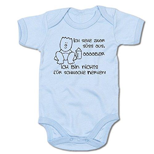 Ich sehe zwar süß aus, aber ich bin nichts für schwache Nerven Baby-Body (250.0042) (0-3 Monate, blau)