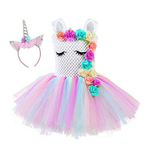Duoyi EU Kinder Mädchen Einhorn Kostüm Geburtstag Party Fancy Dress Outfit Prinzessin Unicorn Cosplay Tüll Tutu Kleid mit Stirnband Style02 4-5 Jahre (Material Girl Fancy Dress Kostüm)