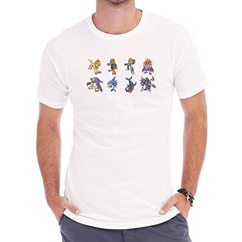 Digimon Garurumon Wolf Gabumon Eight Different Herren T-Shirt Weiß