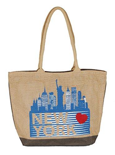 New york city coton jute ladies plage sac à main sac à main occasionnels sac à main sac favor Beige et bleu