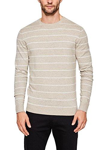 ESPRIT Herren Pullover 097EE2I025, Beige (Light Taupe 260), Large (Kaschmir Pullover Gestreift)