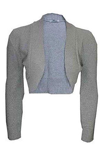 NOUVEAU pour Femmes extensible uni côtelé Haut boléro à manches longues pour femmes tricoté court cardigan boléro Gris - Gris