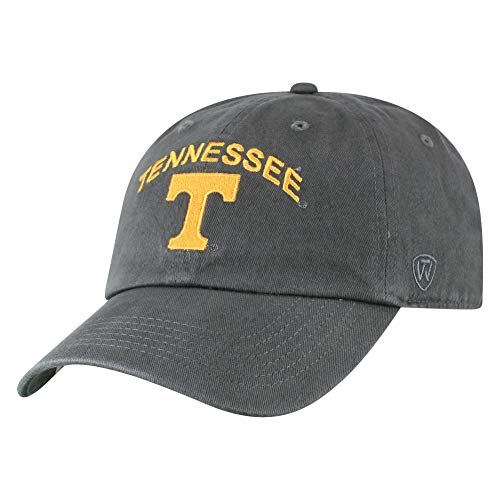 Top of the World NCAA Tennessee Volunteers Men's Relaxed Fit Charcoal Arch Adjustable Hat, Charcoal
