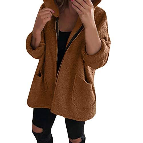 Femmes Sweat-Shirt Manteau à Capuche Fluff Blouson Longues Velours Veste, QinMM Casual Hiver Chaud Jacket Grande Taille Moto Parka Pullover Blouse Running Grande Pouches Zipper Lâche