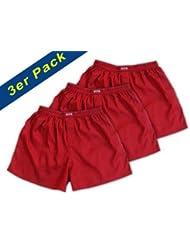 (XL) 3 shorts pour Rouge Hommes Boxer Shorts Sous-vêtements Vêtements de nuit en satin
