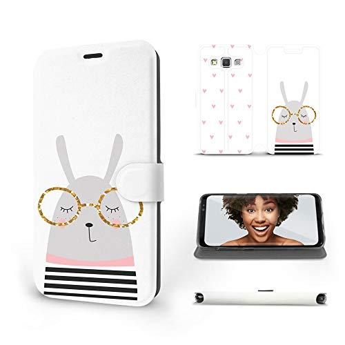 MOBIWEAR | Slim FLIP Case | Kompatibel mit Samsung Galaxy A3 2015, Made in EU handyhülle, Premium Schutzhülle, Transparent TPU Silicon, Book Style Hülle, Tasche - Kaninchen mit Brille