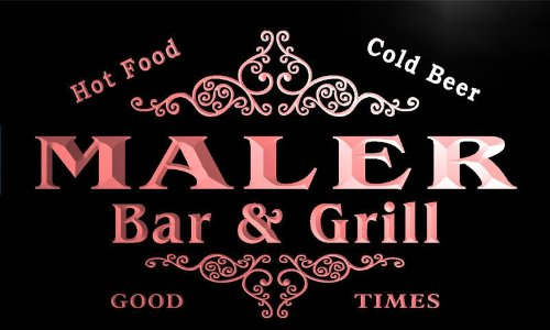 u27985-r MALER Family Name Bar & Grill Home Beer Food Neon Sign Barlicht Neonlicht Lichtwerbung