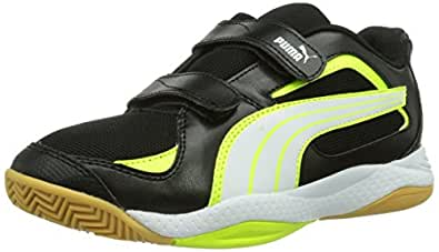 Puma  Ballesta V Jr, Chaussures indoor enfant mixte, Noir (Black/White/Fluro Yellow), 36