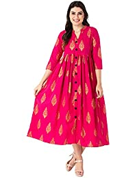 M&D 3/4 Sleeve Casual wear Golden Print A-Line Pure Cotton kurti for women (Pink)
