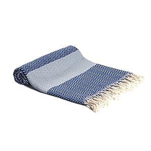 LUSARO Hamamtuch 100% Baumwolle, Fischgrätenmuster, Größe 100x180 cm. Vielseitig nutzbar als Badetuch, Handtuch, Saunatuch, Strandtuch, Decke. (Blau/Hellblau)