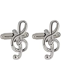 Peluche Symbol of Music Silver Colored Premium Brass Cufflinks for Men