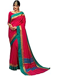 Craftsvilla Women's Silk Traditional Temple Border Work Maroon Saree with Blouse Piece