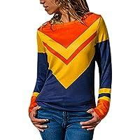 Costura Color De Contraste Cuello Redondo Manga Larga Camiseta Mujer Top,Belasdla Mujer Camisas Mujer