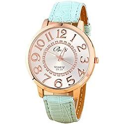Batti ZA-23 Unisex Big Numerals Rhinestone Faux Leather Wrist Watch Light Blue
