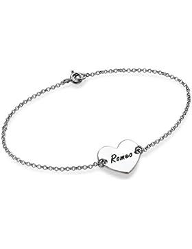 Herzarmband Armband mit mit Herzanhänger aus 925er Silber - Mit kostenloser Wunschgravur!