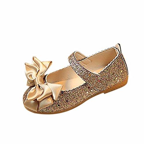 Babyschuhe Ballerinas Mädchen Schuhe Sommer Kommunionschuh Kinderschuhe Mädchen Schuhe Outdoor Prinzessin Schuhe Festliche Schuhe Lackschuhe Blumen Kinderschuhe LMMVP (1-6Jahr) (Gold, 24 (2.5-3Jahr))