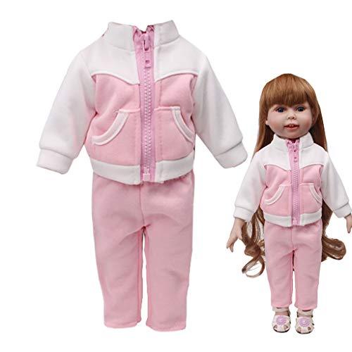 kingko® Sweat-Shirt Et Pantalons d'hiver Vêtements pour Poupée 18 inch Fille Américainne Accessoire de Fille Poupée Pyjamas Vêtements Pantalon+ Manteau (Rose)