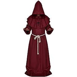 Qincos Traje Medieval Encapuchado Disfraz de Monje Medieval Sacerdote con Cruz para Halloween Carnaval