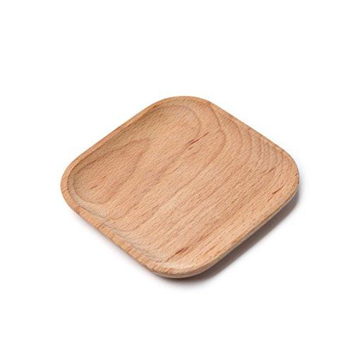 (BESTONZON Holz Servierplatte Holz Quadrat Serviertablett Einweg Home Party Platten - Square)