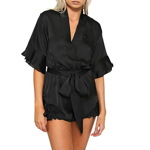 WooCo Sommer Jumpsuits Chiffon Elegant für Frauen - Damen Overall V-Ausschnitt Rüschen Short mit Gürtel Kurzarm - Cool & Comfy 2019 Sale(Schwarz,S) (Falten Sie über Badeanzug)