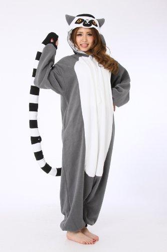 Lemur, mit gestreiftem Schwanz, als Pyjama oder Verkleidung verwendbar, für Erwachsene geeignet, Kigurumi-Stil L (Lemur Schwanz Kostüm)