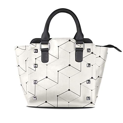 MALPLENA Malpela Handtasche mit abstraktem geometrischen Figuren, Schultertasche